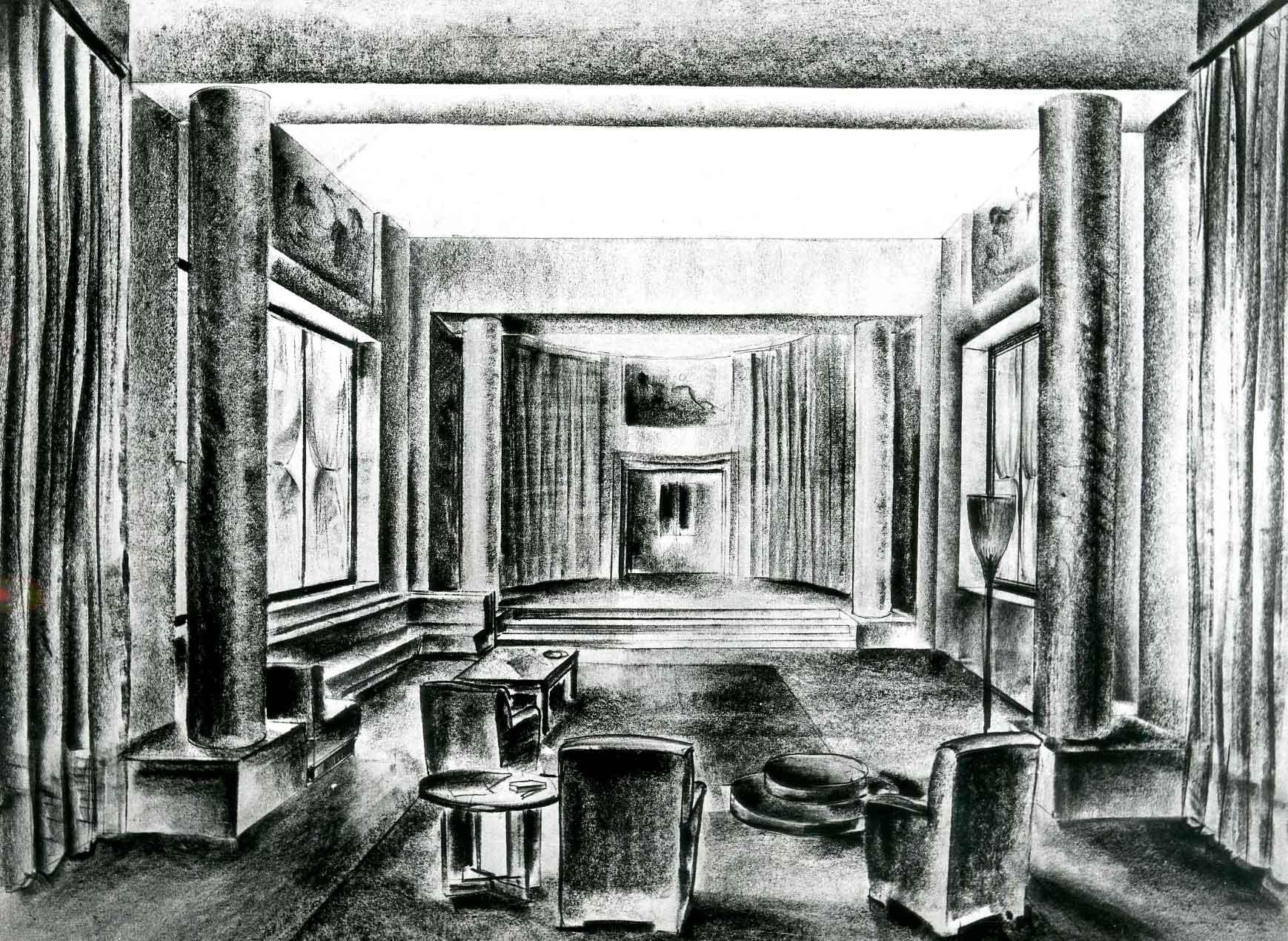 Progetto per una sala con palcoscenico